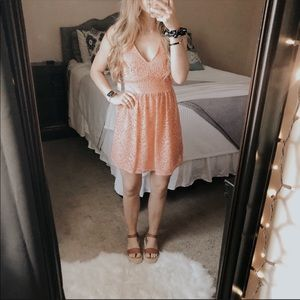 NWT Taylor & Sage Coral Lace Tie-Up Summer Dress